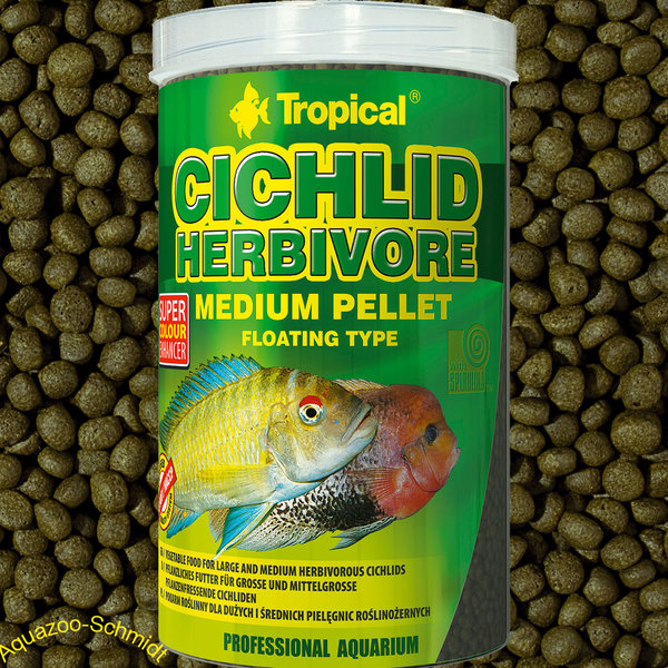 """Tropical Cichlid Herbivore Medium Pellet 1L"""